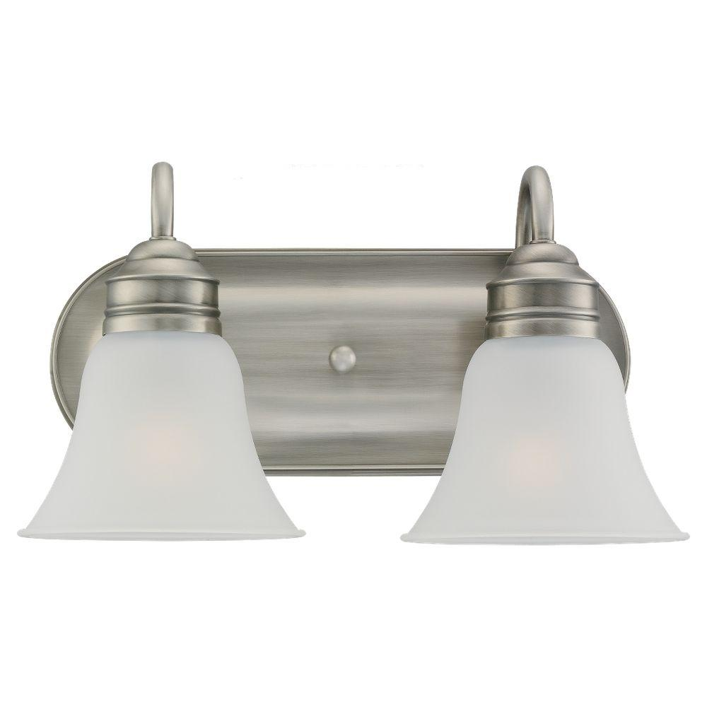 Sea gull lighting gladstone 2 light antique brushed nickel vanity fixture 44851 965 the home depot for Brushed nickel bathroom lighting fixtures