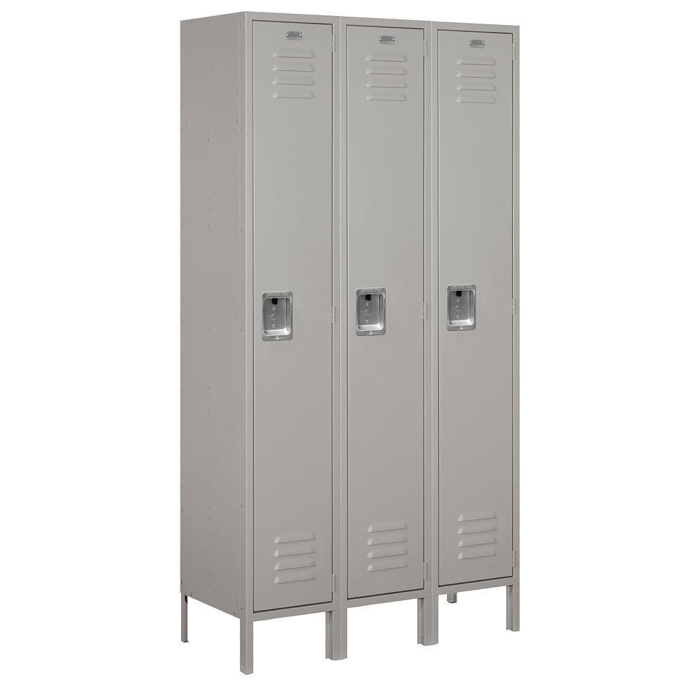 51000 Series 45 in. W x 78 in. H x 15 in. D Single Tier Extra Wide Metal Locker Unassembled in Gray