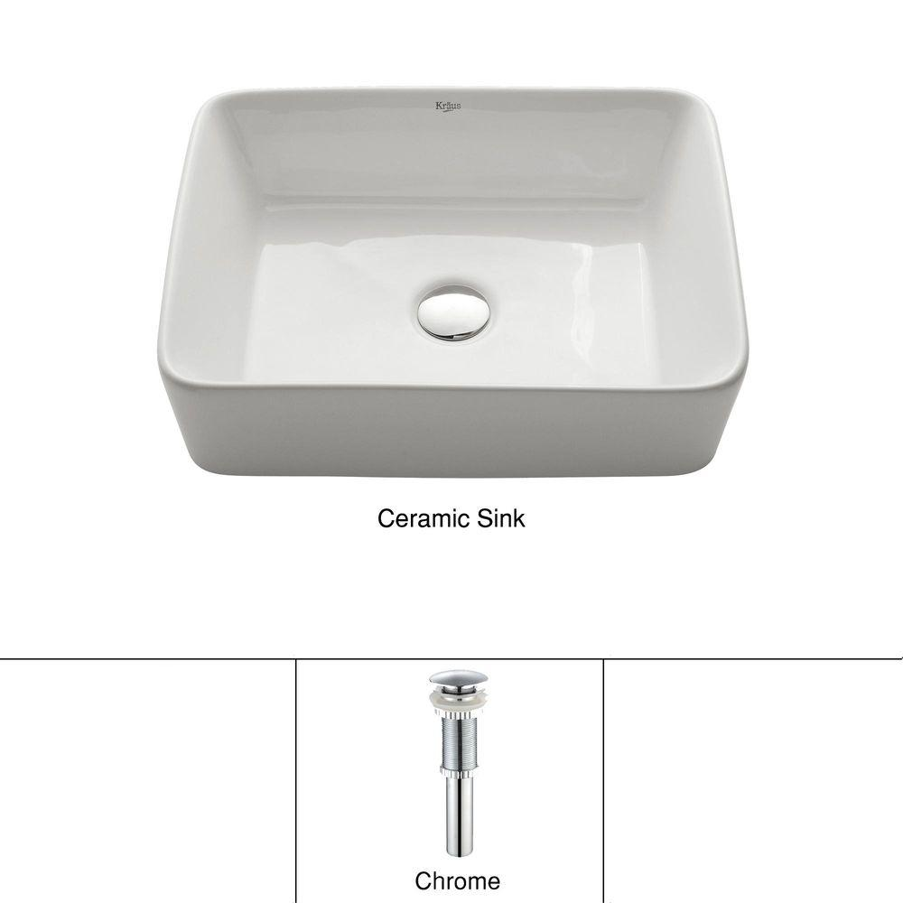 KRAUS Rectangular Ceramic Vessel Bathroom Sink In White With Pop Up Drain  In Chrome