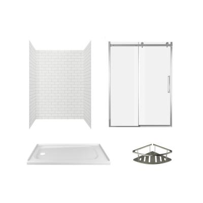 Passage 60 in. x 72 in. Left Drain 4-Piece Glue-Up Alcove Shower Wall, Shelf, Door and Base Kit in White Subway Tile