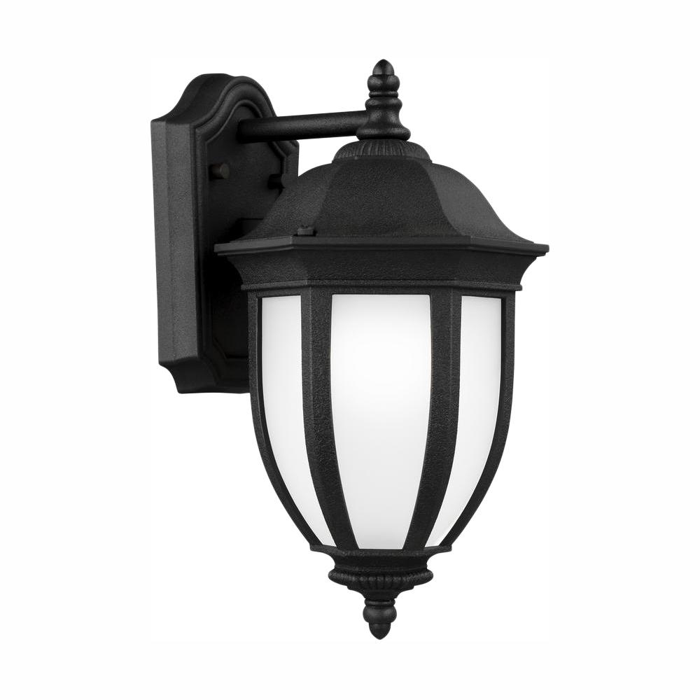 Sea Gull Lighting Galvyn 1-Light Black Outdoor 14.125 in. Wall Lantern Sconce with LED Bulb