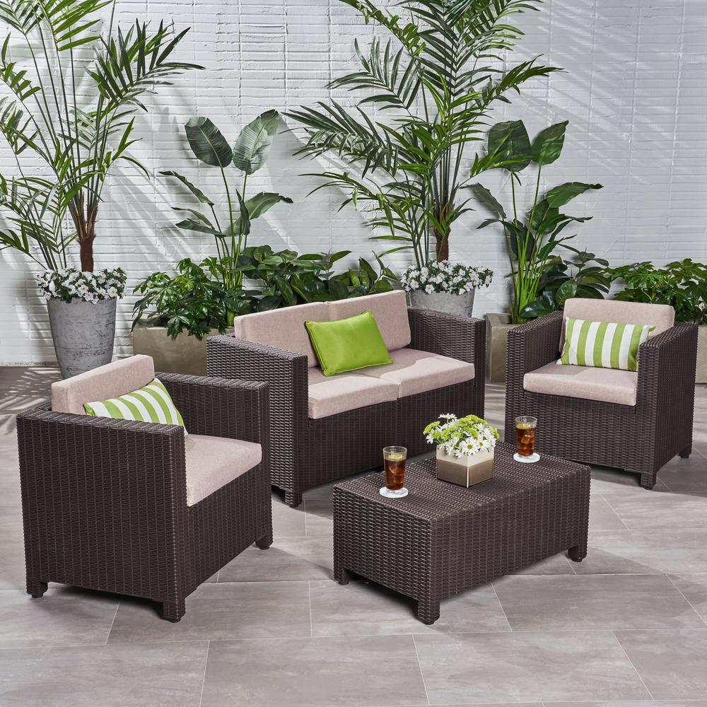 Noble House Primrose Dark Brown 4-Piece All Weather Faux Wicker Patio Conversation Set with Beige Cushions