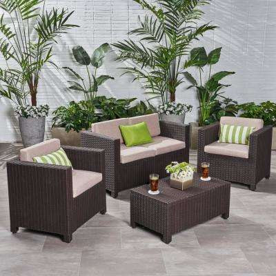 Primrose Dark Brown 4-Piece All Weather Faux Wicker Patio Conversation Set with Beige Cushions