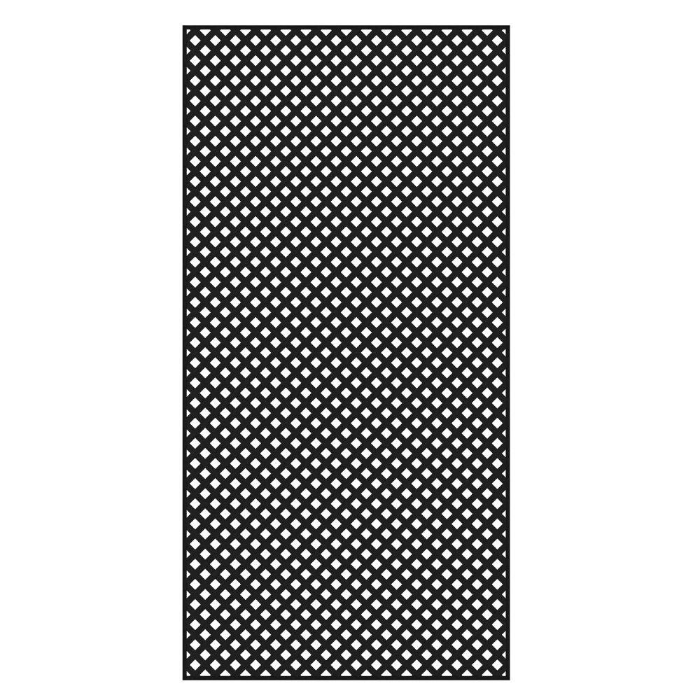 Veranda 4 ft. x 8 ft. Black Privacy Diamond Vinyl Lattice - Framed