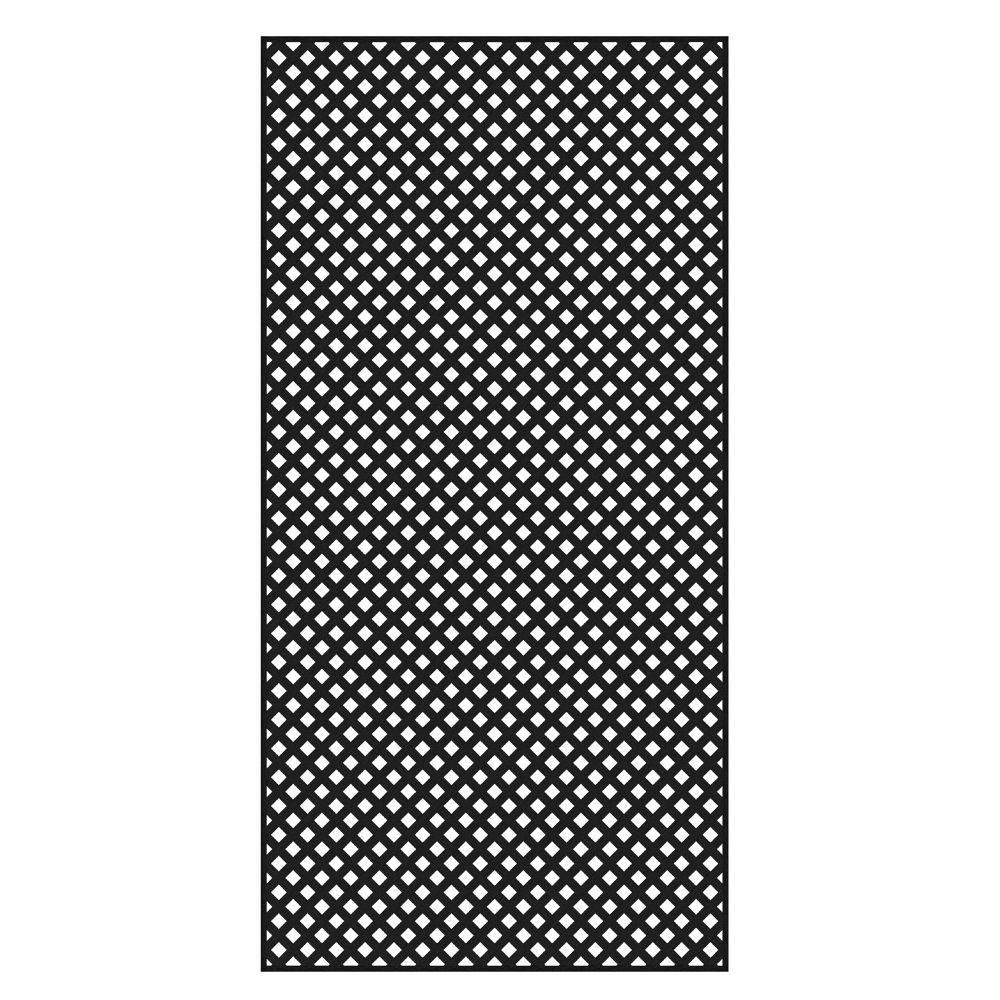 4 ft. x 8 ft. Black Privacy Diamond Vinyl Lattice - Framed