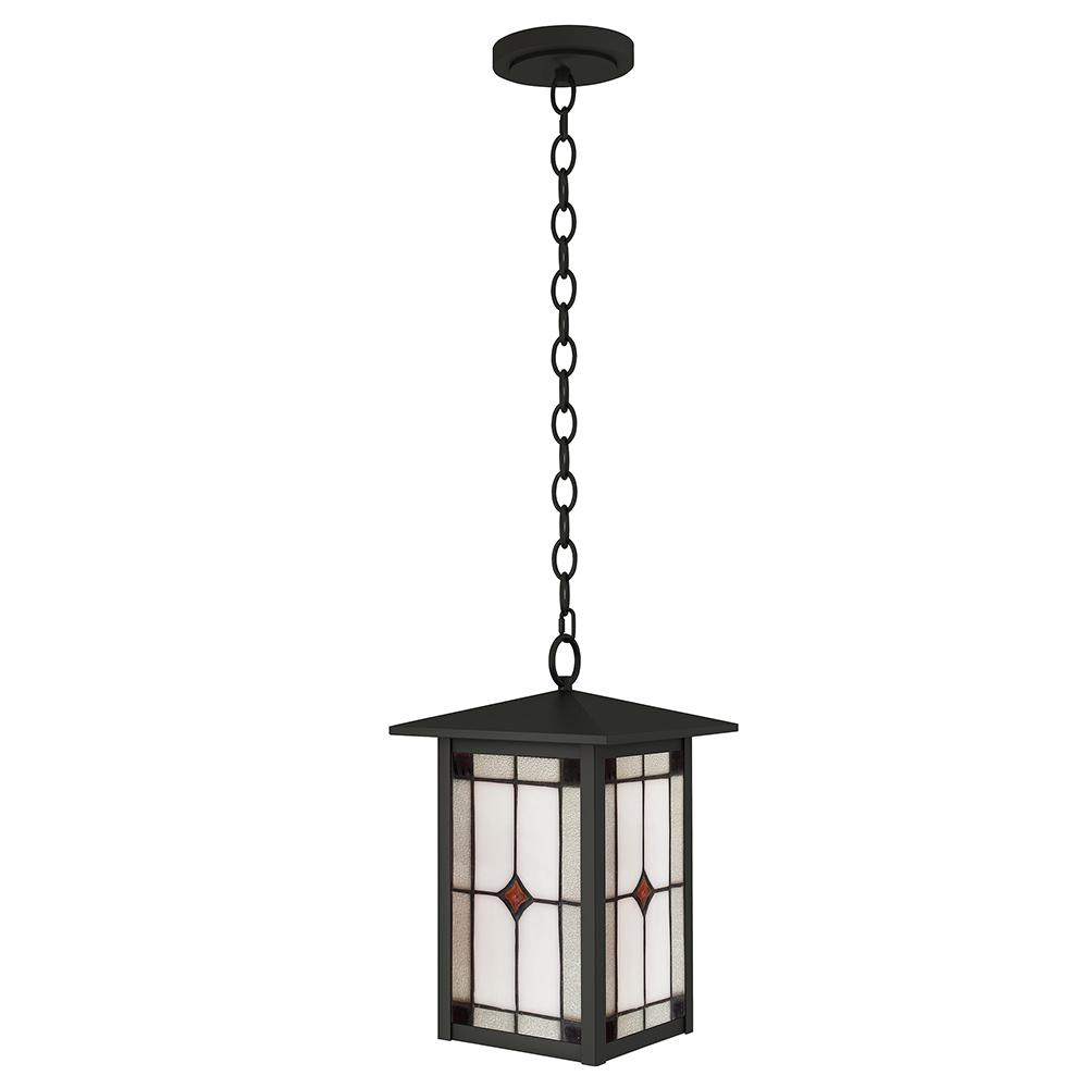 Mayan 1-Light Outdoor Mica Black Hanging Pendant