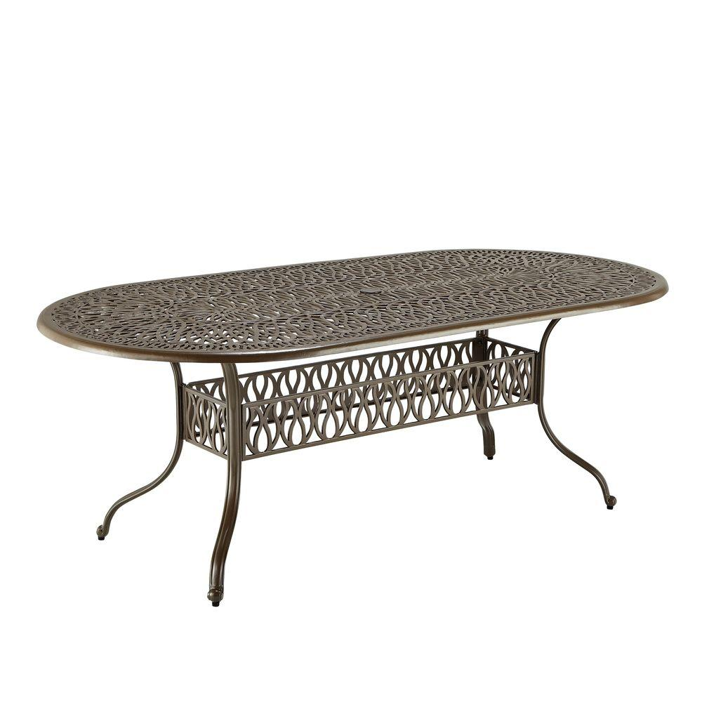 Home Styles Taupe Oval Patio Dining Table