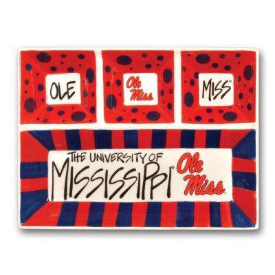Ole Miss Ceramic 4 Section Tailgating Serving Platter