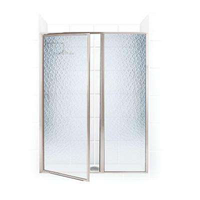 Legend Series 39 in. x 69 in. Framed Hinged Shower Door with Inline Panel in Brushed Nickel with Obscure Glass