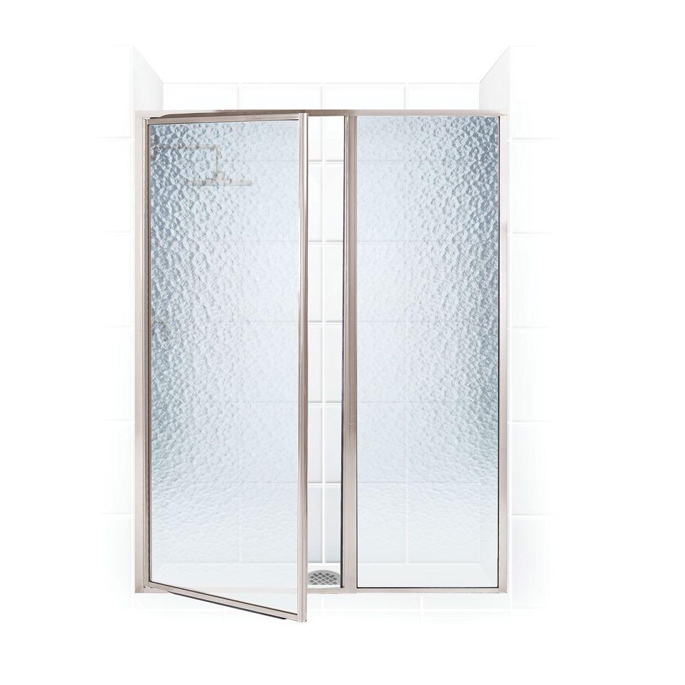 Coastal Shower Doors Legend Series 60 in. x 66 in. Framed Hinge Swing Shower Door with Inline Panel in Brushed Nickel with Obscure Glass