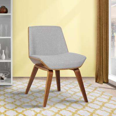 Agi 30 in. Gray Fabric and Walnut Wood Finish Mid-Century Dining Chair