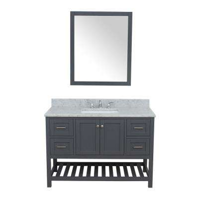 Westchester 49 in. W x 22 in. D Bath Vanity in Gray with Marble Vanity Top in White with White Basin and Mirror