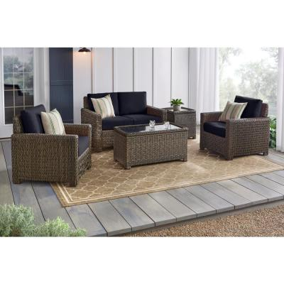 Laguna Point Brown Wicker Outdoor Patio Loveseat with CushionGuard Midnight Navy Blue Cushions