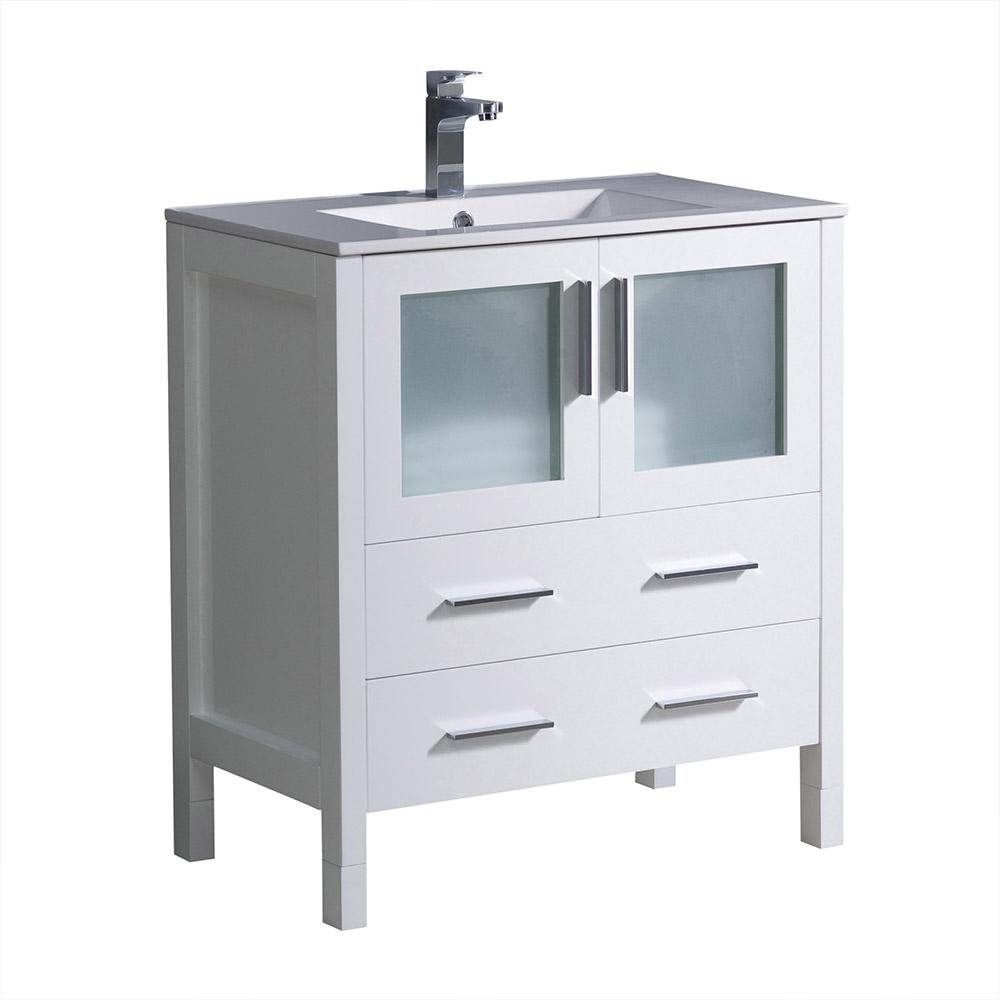 Fresca torino 30 in bath vanity in white with ceramic vanity top in white with white basin for White bathroom vanities with tops