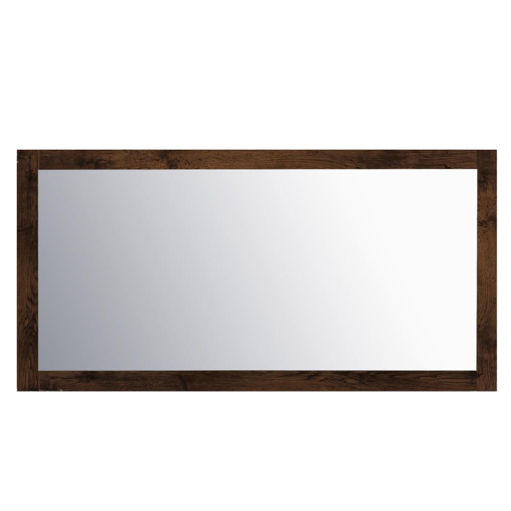 Sun 60 in. W x 30 in. H Framed Rectangular Bathroom Vanity Mirror in Rosewood