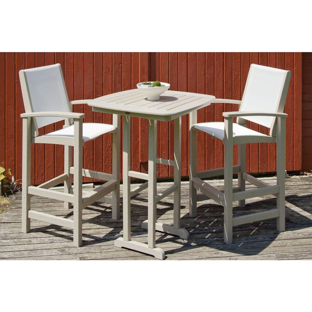 POLYWOOD Coastal Sand 3-Piece Outdoor Patio Bar Set with White Slings