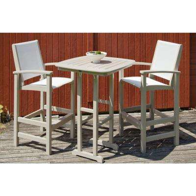 Coastal Sand 3-Piece Outdoor Patio Bar Set with White Slings