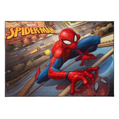 Spider Man City Multi-Colored 5 ft. x 7 ft. Indoor Juvenile Area Rug