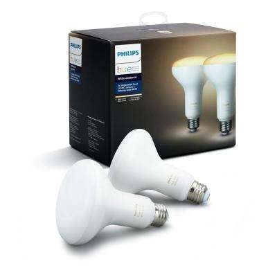 White Ambiance BR30 LED 65W Equivalent Dimmable Smart Wireless Flood Light Bulb (2 Pack)