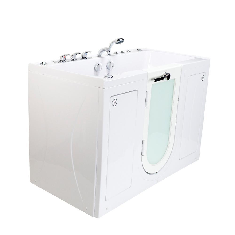 Tub4Two 60 in. Walk-In Whirlpool, Air Bath, MicroBubble Bathtub in White, LH Outward Door, Heated Seat, 2 in. Dual Drain