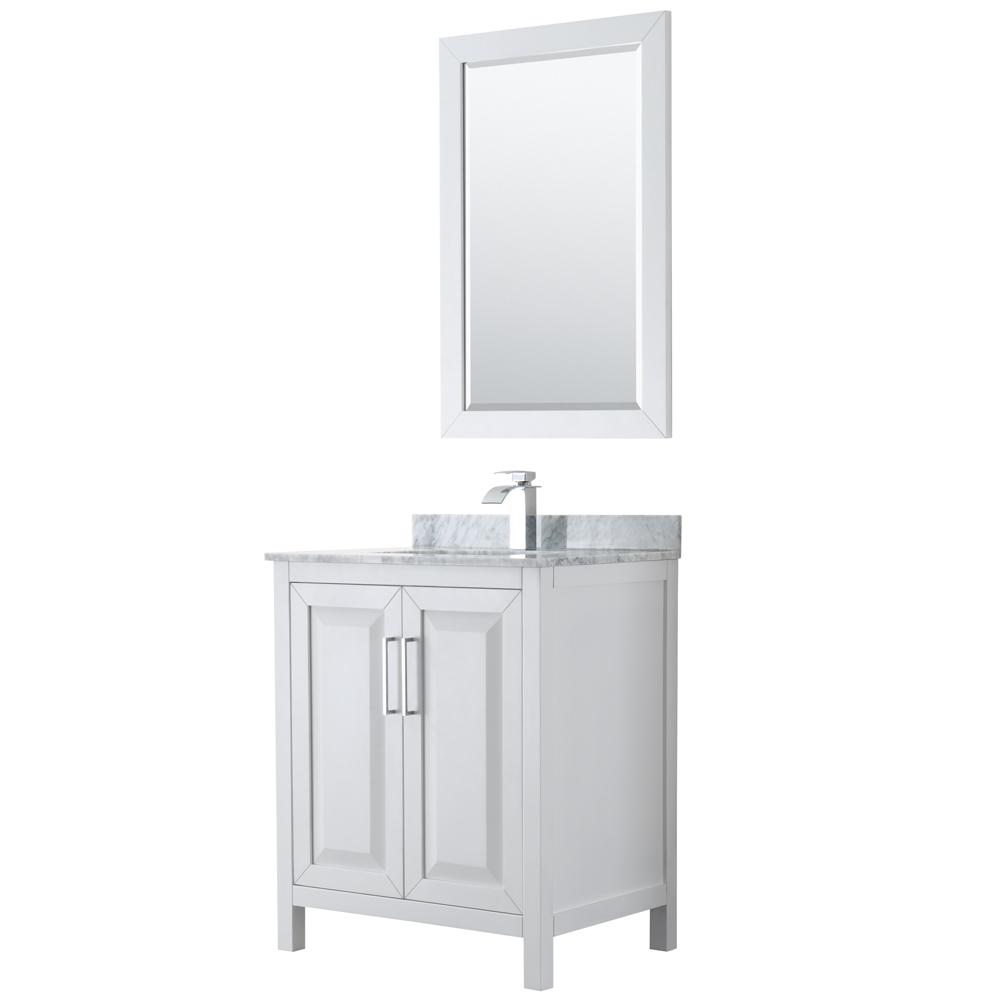 Wyndham Collection Daria 30 in. Single Bathroom Vanity in White with Marble Vanity Top in Carrara White and 24 in. Mirror