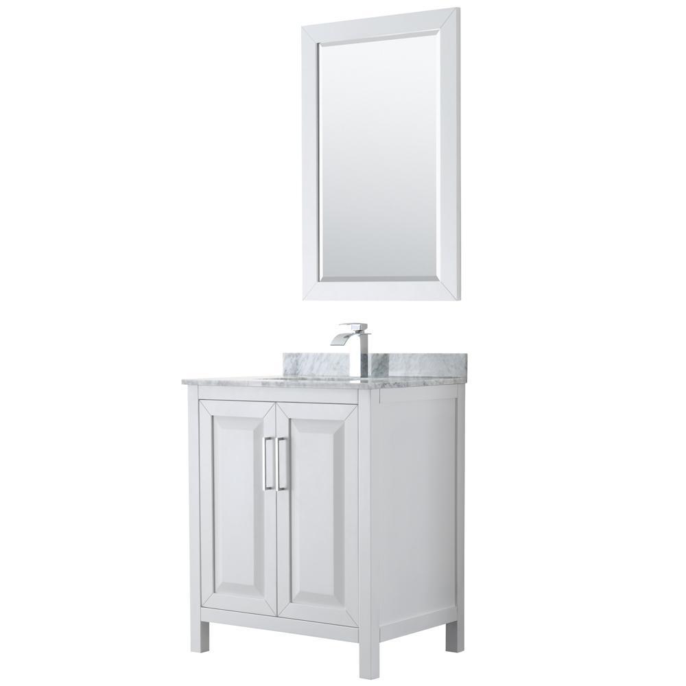 Daria 30 in. Single Bathroom Vanity in White with Marble Vanity Top in Carrara White and 24 in. Mirror