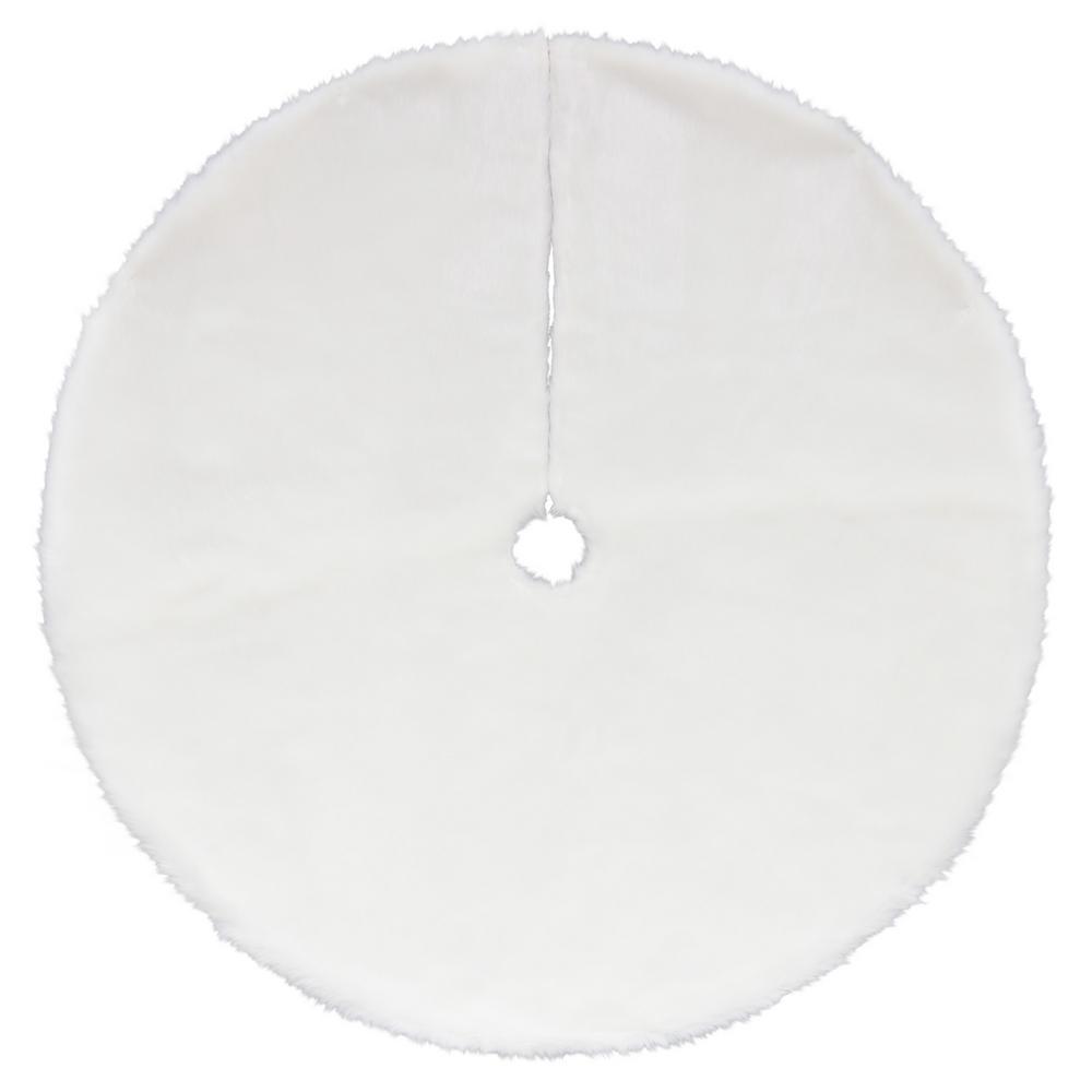 48 in. Plush White Faux Fur Christmas Tree Skirt