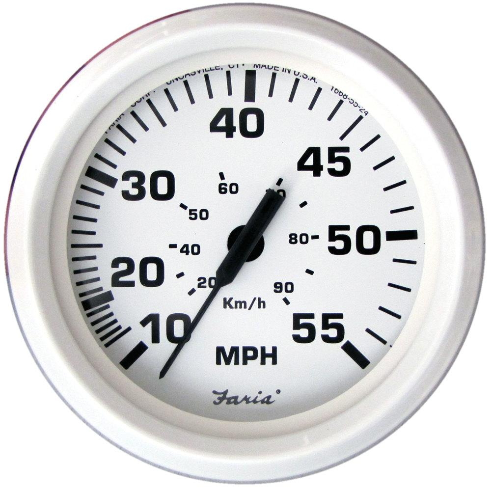 Faria 33112 Speedometer-55 MPH Dress White