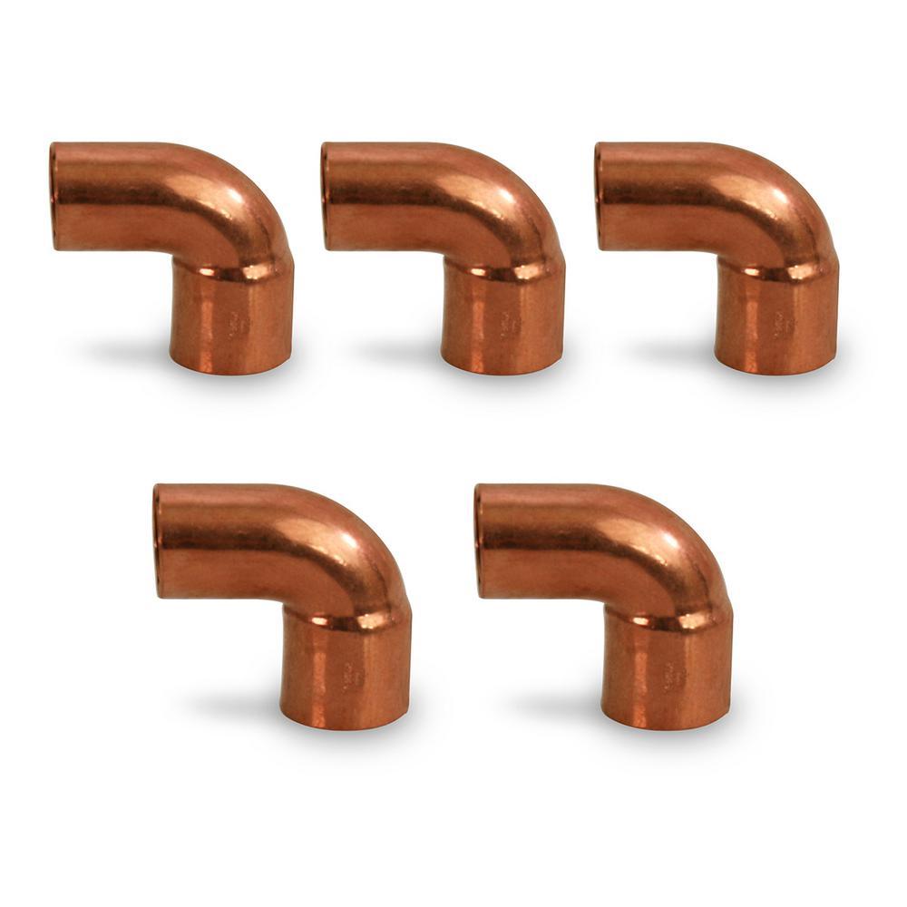 3/8 in. Copper FTG x C Short Radius Street 90-Degree Elbow Fitting (5-Pack)