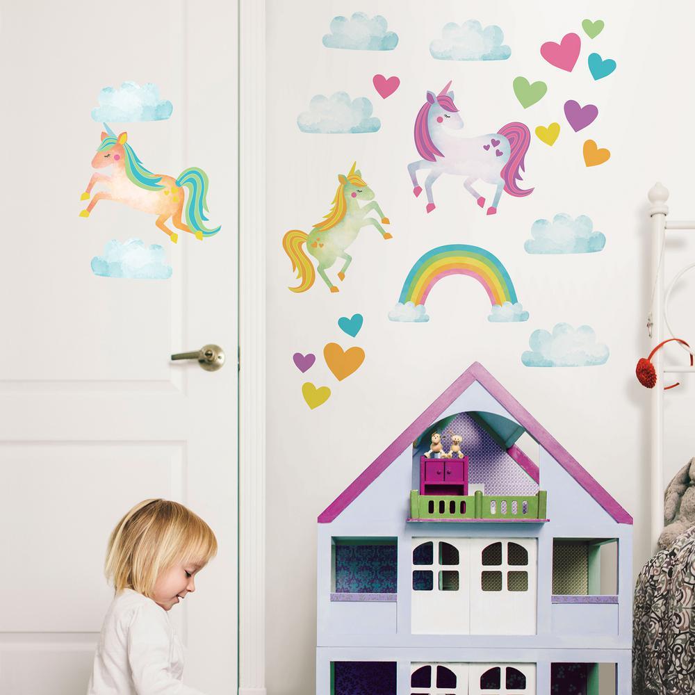 Multi-Color One Love Unicorns Wall Decal
