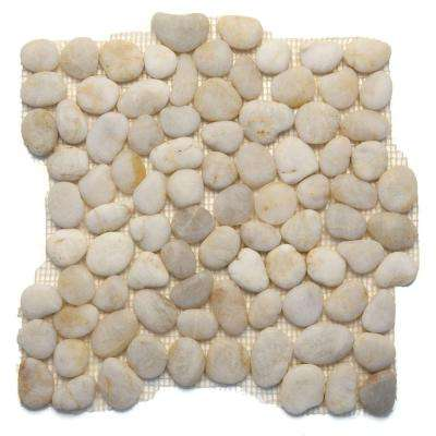 Anatolia Honed White Onyx 12 in. x 12 in. x 12.7 mm Natural Stone Pebble Mesh-Mounted Mosaic Tile (10 sq. ft. / case)