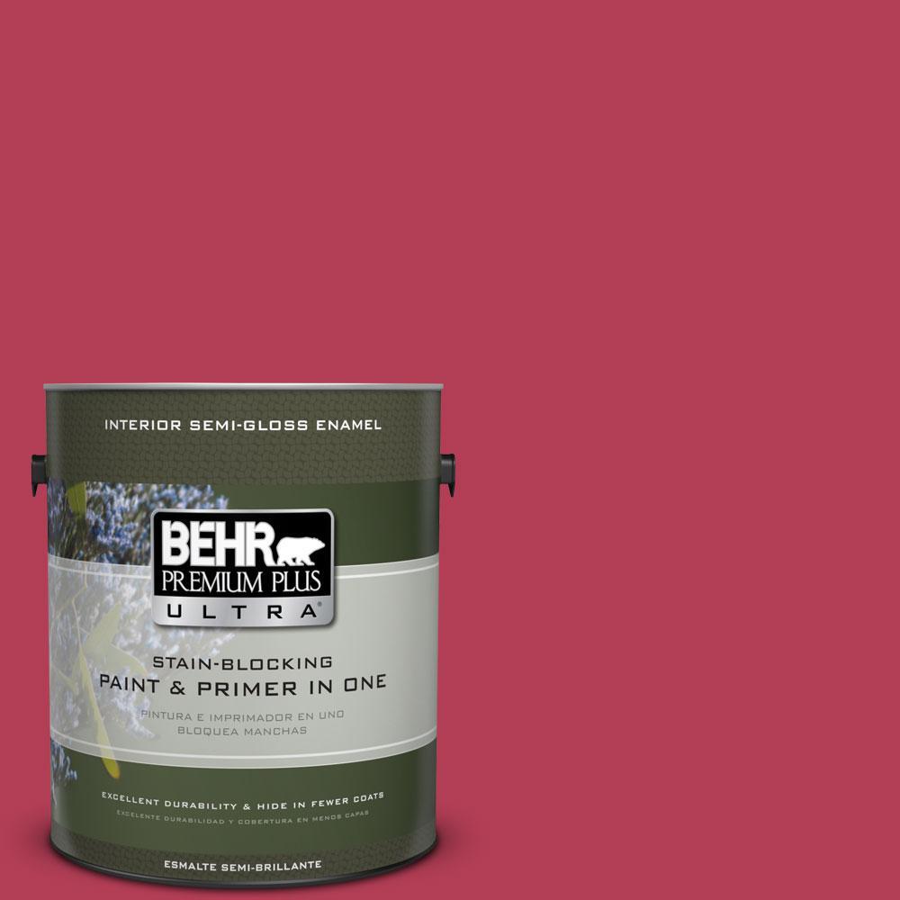 1-gal. #130B-7 Cherry Wine Semi-Gloss Enamel Interior Paint
