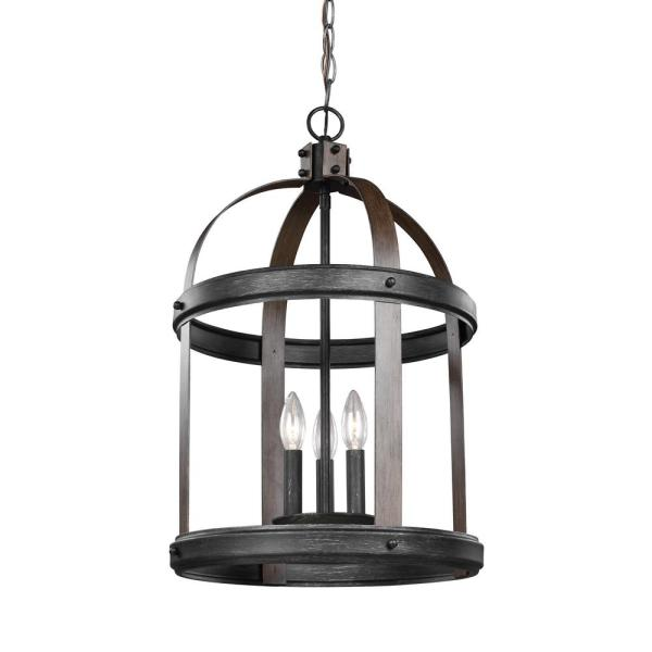Lonoke 14.25 in. W. 3-Light Weathered Gray and Distressed Oak Hall-Foyer Pendant