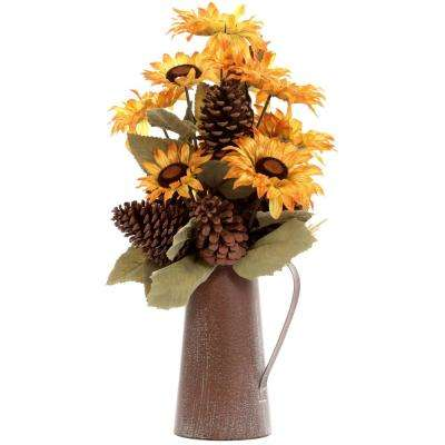 Harvest Sunflower And Pinecone Arrangement