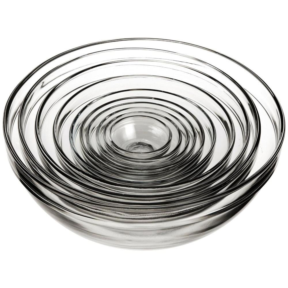 Anchor Hocking 10-Piece Mixing Bowl Value Pack, Clear Glass Durable glass mixing bowls. As seen on Food Network cooking shows. These mixing bowls are an essential addition to every kitchen and include the right size for almost every prep, mixing and serving need. The classic design allows these bowls to double as serving pieces. Made of durable tempered glass, they nest neatly for compact storage. Color: Clear Glass.