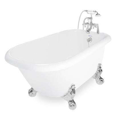 54 in. AcraStone Acrylic Classic Clawfoot Non-Whirlpool Bathtub in White with Large Ball in Claw Feet Faucet in Chrome