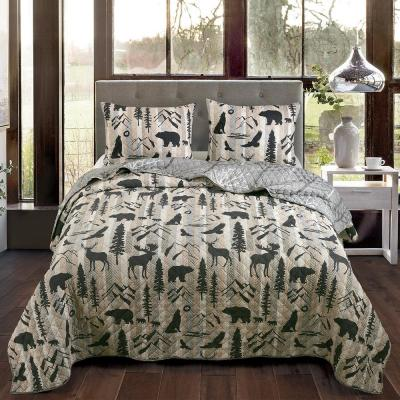 Donna Sharp Bear Walk Quilted Soft Polyester Rustic Country Twin 2 Piece Set