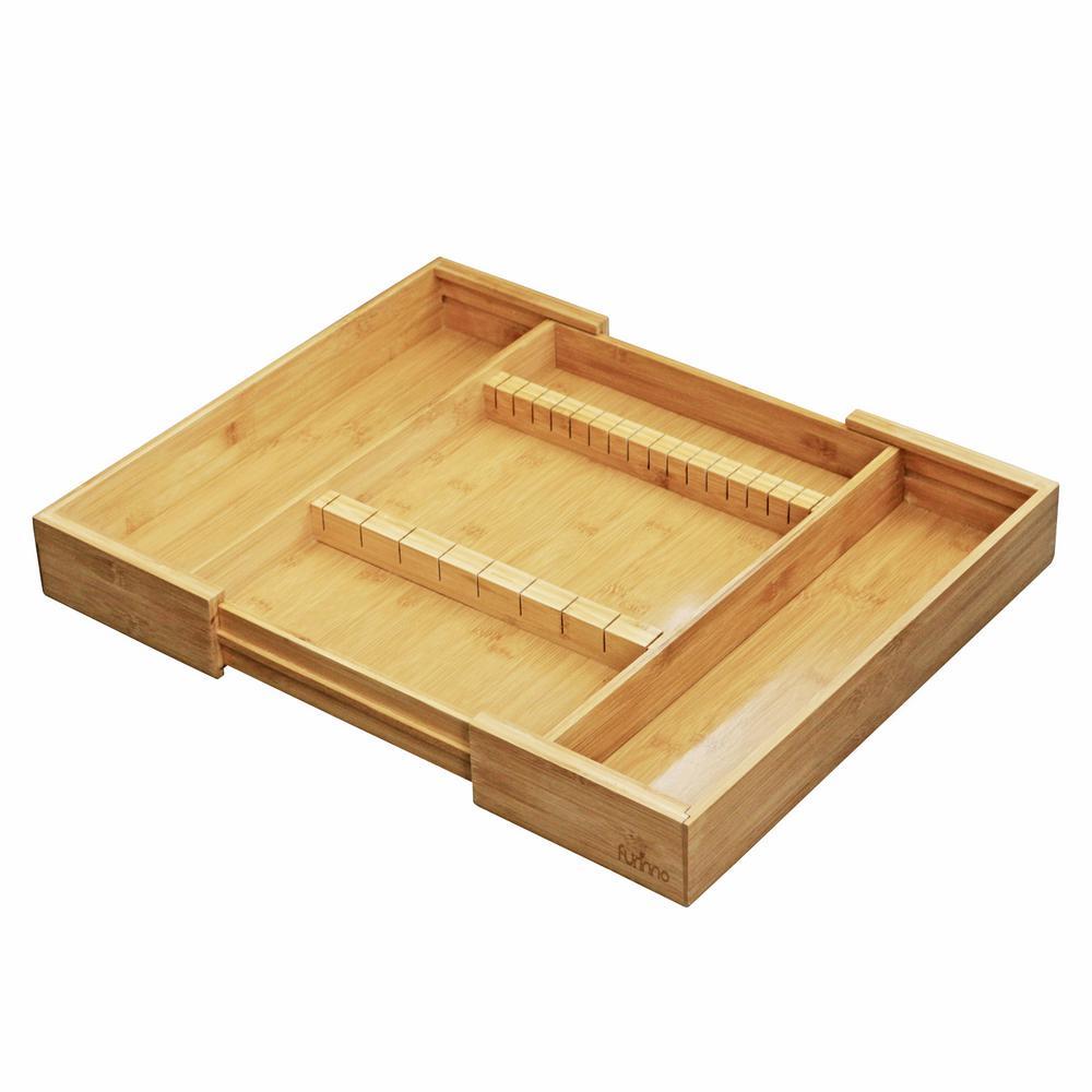 DaPur Natural Bamboo Drawer Organizer with Cutlery Storage