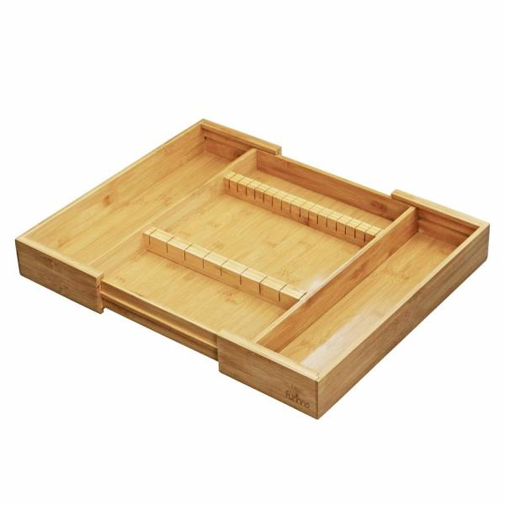 Furinno DaPur Natural Bamboo Drawer Organizer with Cutlery Storage FK8720