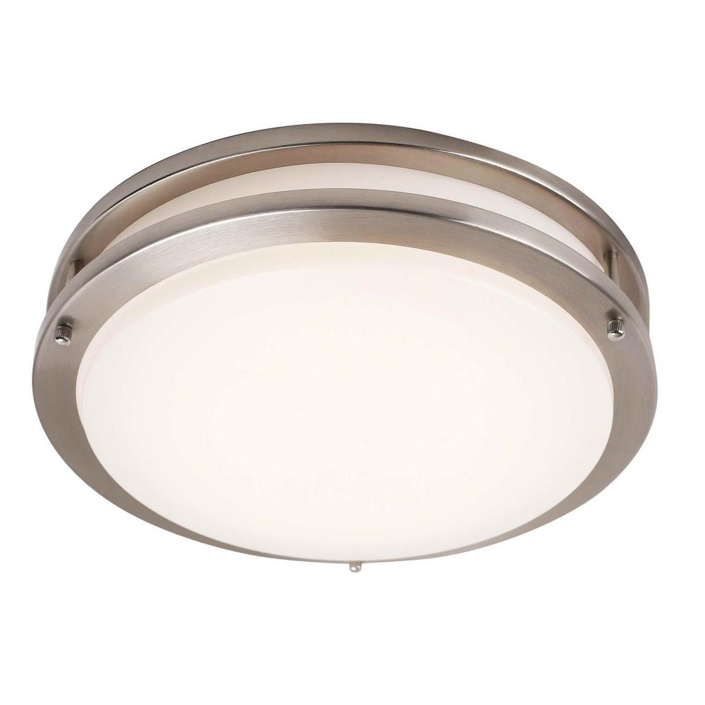 1 Light Integrated Led Flush Mount Ceiling In Brushed Nickel