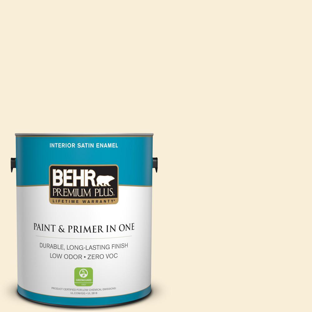 BEHR Premium Plus 1-gal. #310A-1 Ivory Invitation Zero VOC Satin Enamel Interior Paint