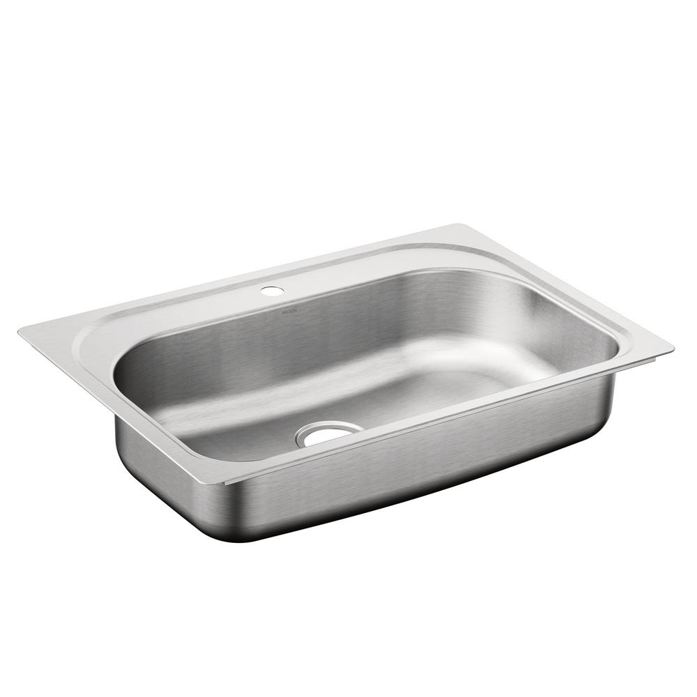 MOEN 1800 Series Drop In Stainless Steel 33 In 1 Hole Single Bowl Kitchen Sink Featuring