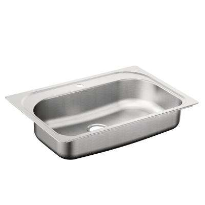 1800 Series Drop-In Stainless Steel 33 in. 1-Hole Single Basin Kitchen Sink Featuring QuickMount Hardware