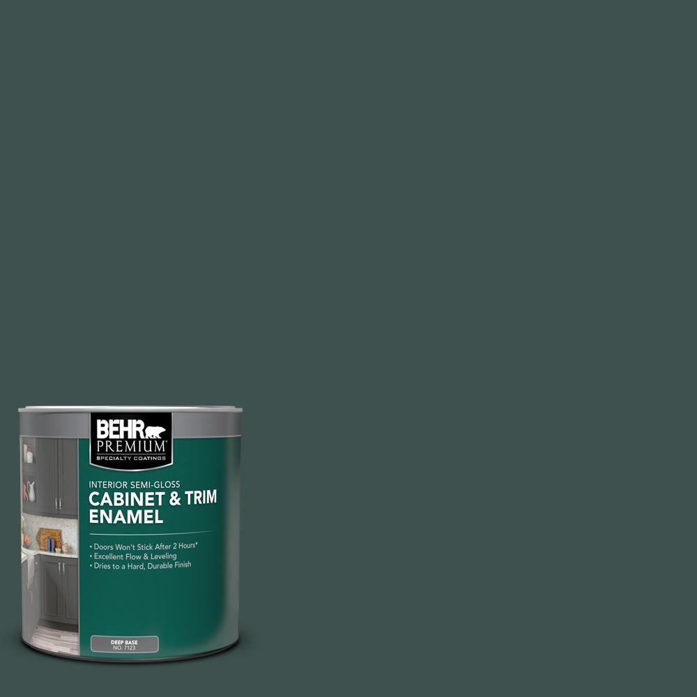 BEHR PREMIUM 1 qt. #MQ6-44 Black Evergreen Semi-Gloss Enamel Interior Cabinet and Trim Paint