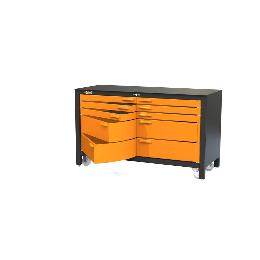 Magnificent Swivel 5 Ft 10 Drawer Workbench Tool Box Orange Creativecarmelina Interior Chair Design Creativecarmelinacom