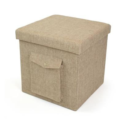 15 in. x 15 in. x 15 in. Khaki Folding Storage Ottoman Cube with Exterior Multi-Purpose Pocket