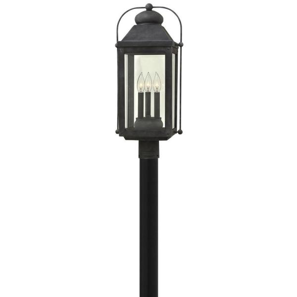 Anchorage 3-Light Aged Zinc LED Outdoor Post or Pier Mount