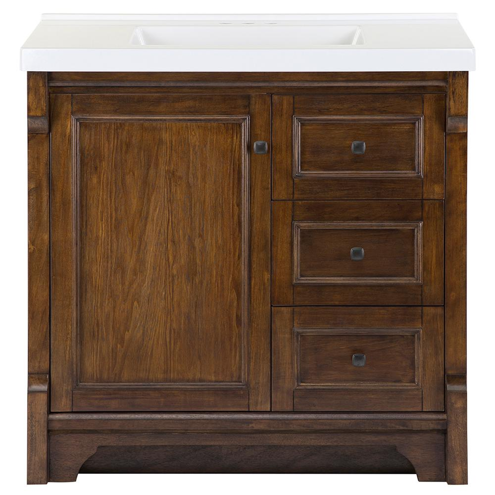 Home Decorators Collection Creedmoor 37 in. W x 22 in. D Bath Vanity in Walnut with Cultured Marble Vanity Top in White with White Sink was $1119.0 now $671.4 (40.0% off)