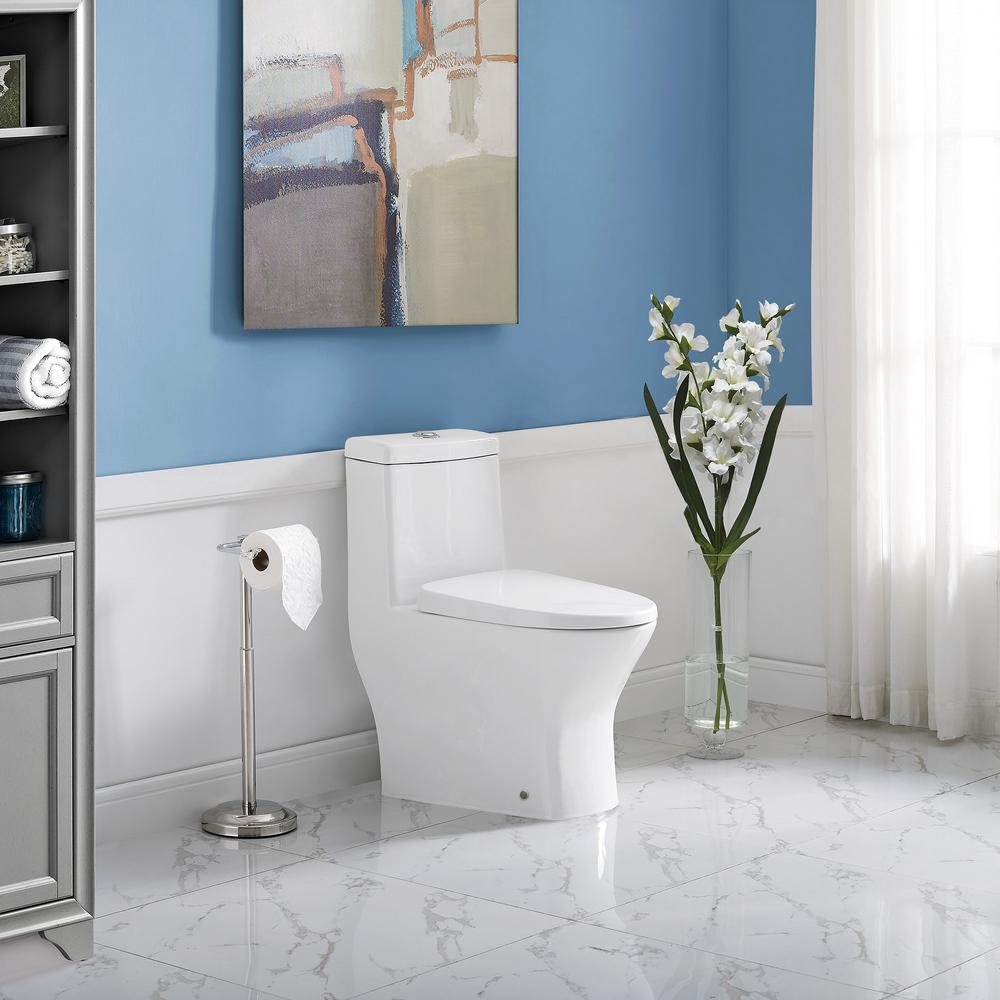 Swiss Madison Sublime II 1-Piece 0.8/1.28 GPF Dual Flush Elongated Toilet in White