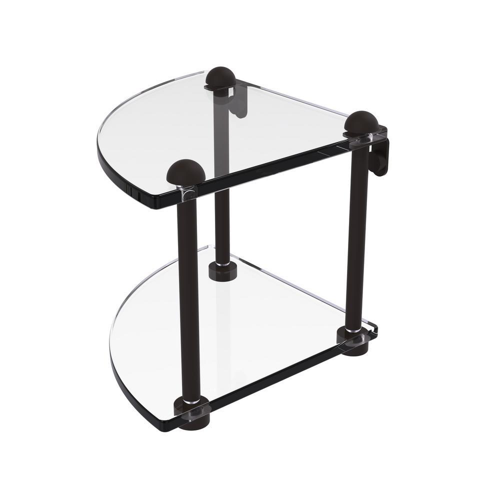 8 in. 2-Tier Corner Glass Shelf in Oil Rubbed Bronze